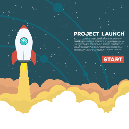 goes: Flat style illustration. Rocket goes up in the sky with stars. Project start up concept.