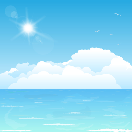 puffy: Bright and big puffy clouds lying on the blue sea.