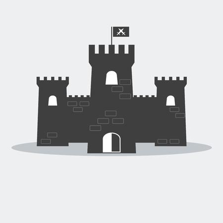 castillo medieval del ladrillo con torres y bandera. Ilustración de vector