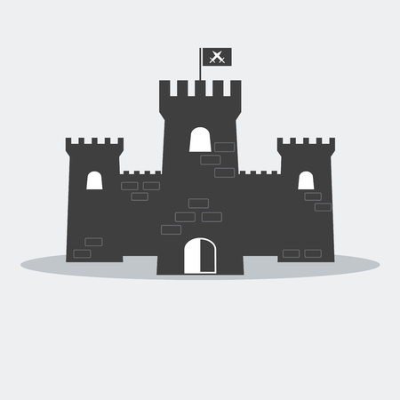 fortress: Medieval brick castle with towers and flag.