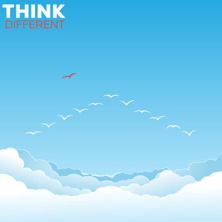 differentiate: Think different concept. One bird outside the v formation. Illustration