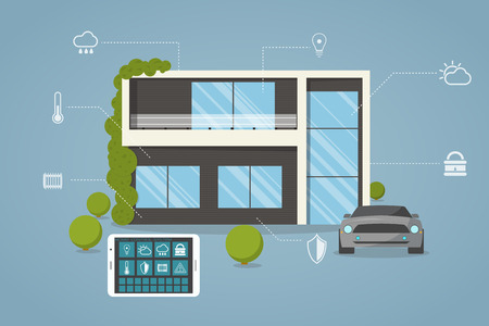 Contemporary, eco smart house design with remote control from tablet.