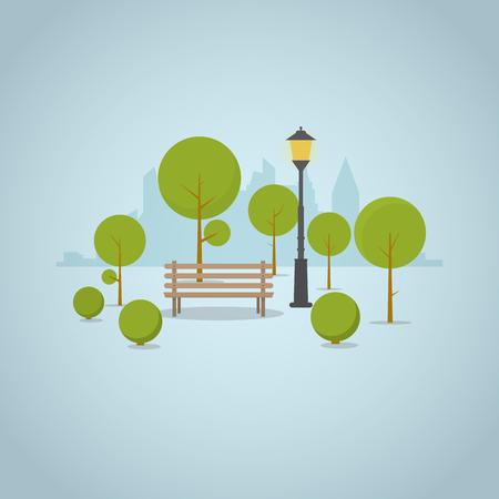 Banc de parc en bois dans le parc de la grande ville avec des arbres et des buissons, un horizon de gratte-ciel sur le fond. Lampe classique du parc de la rue près du banc et ombres entourées de cercle.