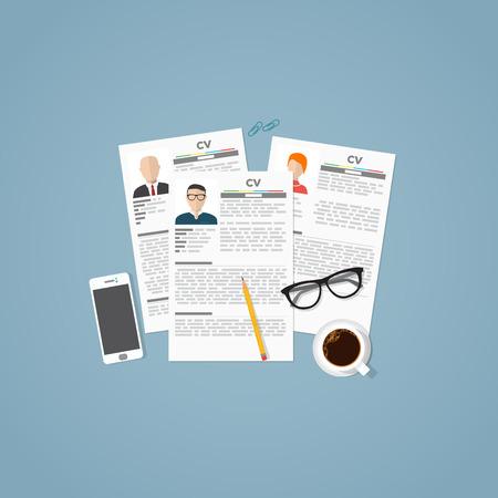 Curriculum vitae baan documenten met persoonlijke informatie en foto. Job zaken interview concept met candidats hervatten en objecten.