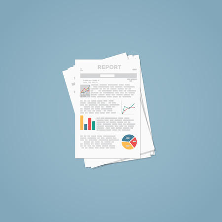 document: Flat illustration. Business report paper documents and sheets.