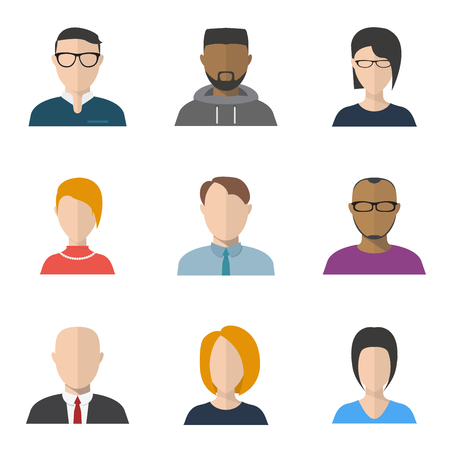 Set of flat style people faces. Characters portraits and avatars, freelancer, businessman with tie and jacket, and secretary faces both men and women with hairstyle.