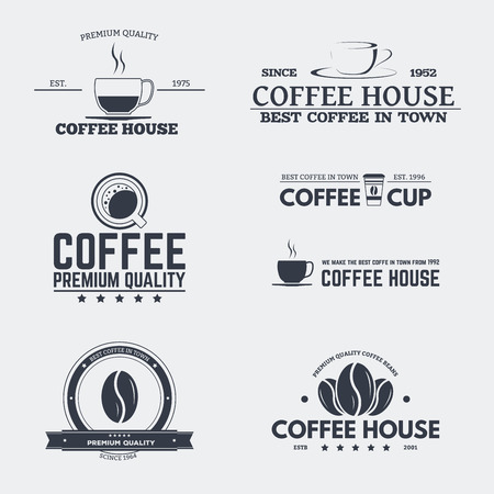 coffee icon: Set of retro icon and emblems, badges and insignia, labels and signs for cafe or coffee house with beans, coffee paper cups. Illustration