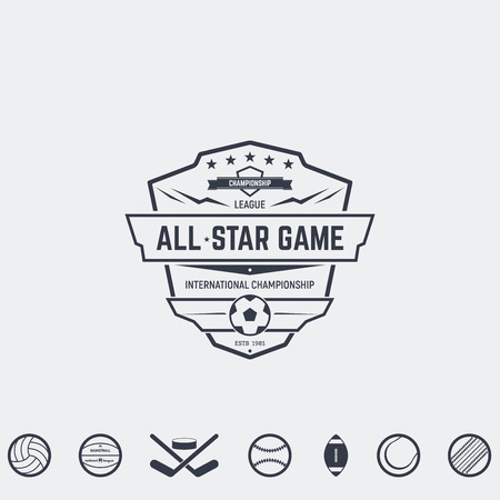 competitions: Set of retro icon and emblems, badges and insignias, labels and signs for sport teams, competitions and all-star games. Football, basketball and other sport icons ready for emblem. Illustration