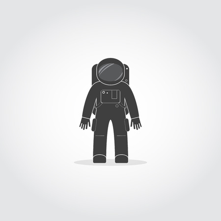 life support: Simple black icon of cosmonaut or astronaut wearing space suit with helmet and backpack with life support system.