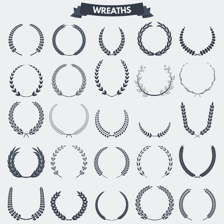 palm wreath: Set of retro vintage laurel wreaths icons and emblems, badges and signs for other graphic or printing awards and symbols.
