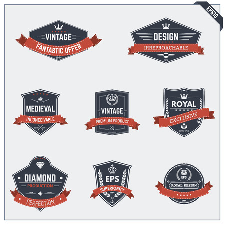 shield wings: Set of retro vintage badges icons and emblems,  signs for logotype, coat of arms, banners or other graphic or printing stickers. Illustration