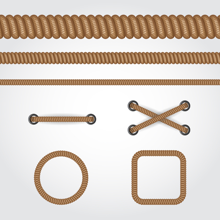 Seamless rope set. Circle, square frames and straight brown rope or cable line. Illustration