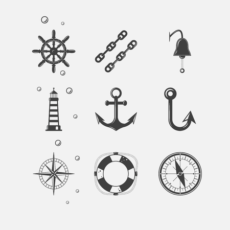 black sea: Set of black sea theme icons of ship navigation related objects.