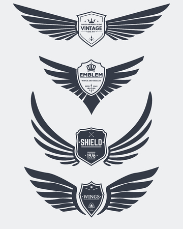 shield wings: Set of inked modern wings and shields icons and emblems