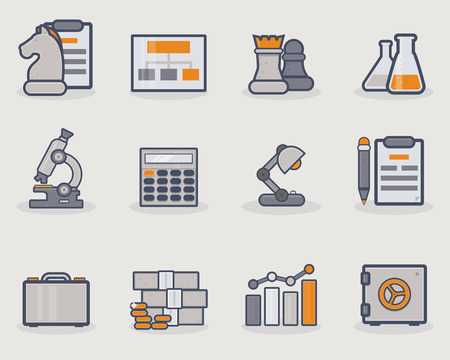 money pile: Set of thin line icons with grey and golden color.