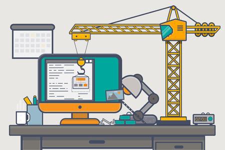 schöpfung: Line-Icons von Computer-Monitor, Tablet und Telefon in den goldenen Farben, was ansprechende Website-Design.