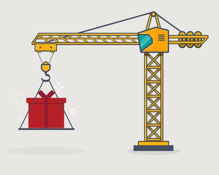 Line icon style building crane lift gift present box.