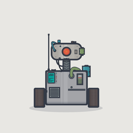 retro computer: Line pixel style classic robot with rectangle body and moving head on neck with camera and gadgets.