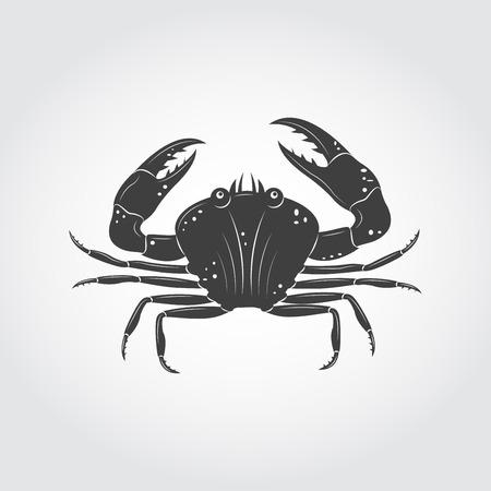 crawfish: Vintage retro crab black icon.