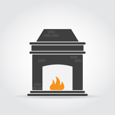 mantelpiece: Fireplace black icon with bricks and fire.