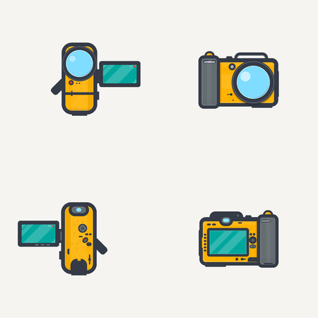 yellow photo: Line pixel style, sport waterproof yellow photo camera and video camera. View from front and back, with open display.