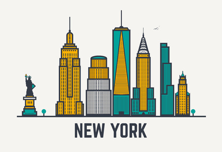 new york skyline: New York city architecture skyline silhouette. Line pixel style art.
