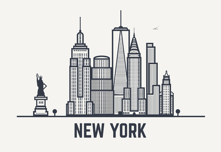 new york skyline: New York city architecture skyline silhouette. Line outlines pixel black and white style art.