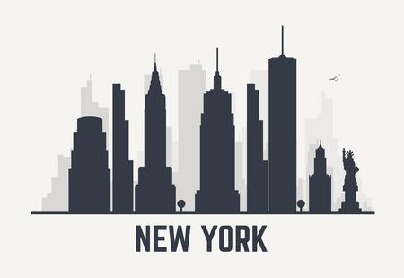 Nueva York Ciudad Retro Vintage Ilustración Vectorial En Gris ...
