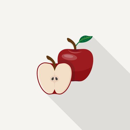 apple leaf: Red apple and half of apple with leaf.
