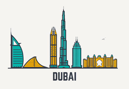 Dubai architecture skyline silhouette. Line pixel style art. Dubai famous buildings and hotels.