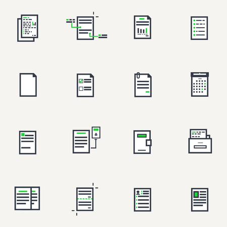 Line pixel style icon set. Blank pages and documents with text and data.