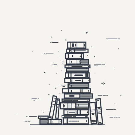 art book: Flat style, thick and thin line design concept art. Pile of books and magazines with black lines and sparks.