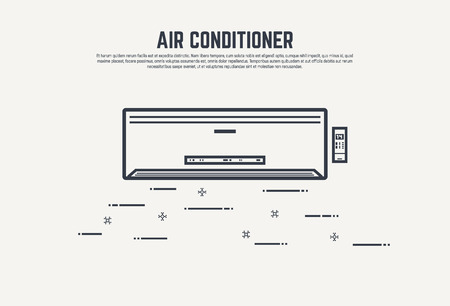 air condition: Air condition flat style thin line design concept. Air conditioner with remote control and display.