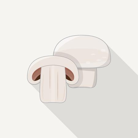 champignon: Flat style white champignon icons. Illustration