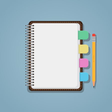 bookmarks: Flat realistic blank notebook with colorful bookmarks and pencil. Illustration
