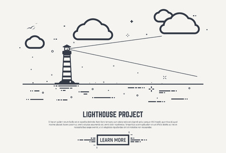 night vision: Flat style, thick and thin line design concept. Lighthouse with beam lighting into the distance in sea. Clouds and waves with dots and lines. Abstract business lighthouse illustration.