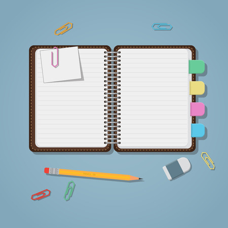 Opened notebook with colored tabs clips and pencil. Vectores