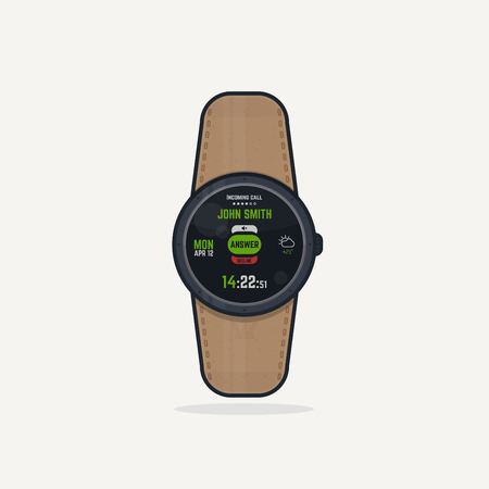 phone button: Digital wristwatch with leather band. Portable gadget smart watch concept with digital display and phone functions. Incoming call answer button.