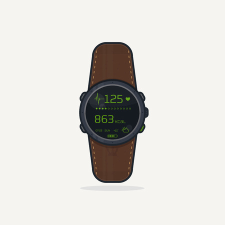 bpm: Digital wristwatch with leather band. Sport extreme watch concept for adventures with digital display and heart rate functions. Illustration