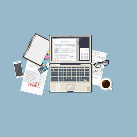 finance report: Flat illustration. Open laptop with financial report. Business papers and tax sheet. Finance concept banner. Illustration