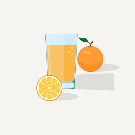 summer diet: Orange juice flat illustration. Half and whole orange with glass of juice.