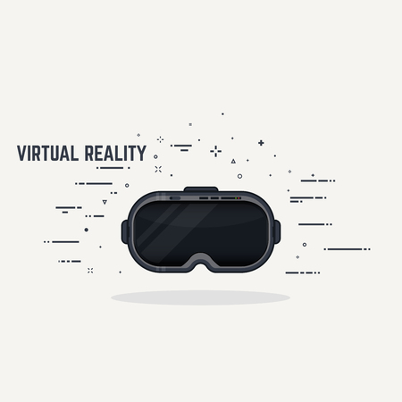 Virtual reality headset display. Thick lines and flat style illustration. Black glossy VR head display with lights and switch.