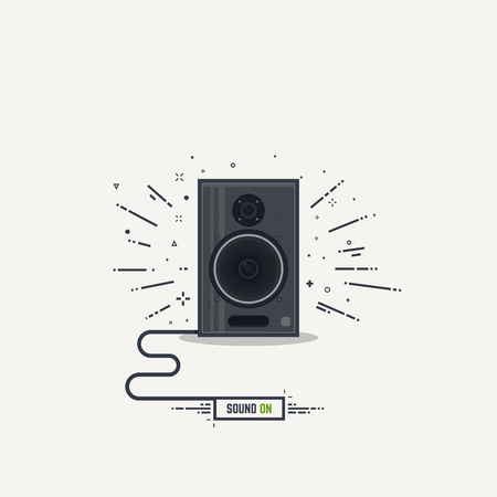 Black and gray loudspeaker with abstract sound waves. Thick lines and flat style illustration. Acoustic speaker concept with cord and text button sound on. Illustration
