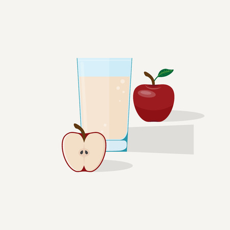 Apple juice flat illustration. Half and whole red apple with glass of juice. Illustration