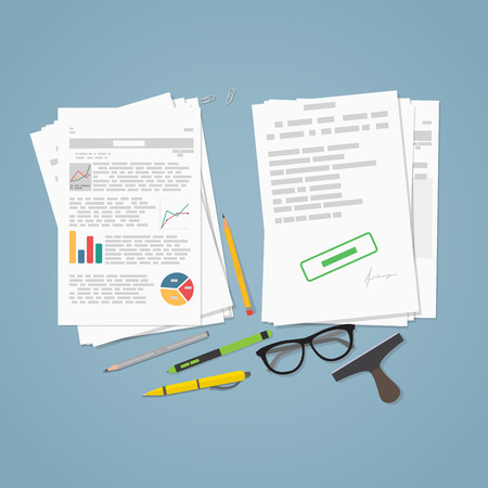 printed work: Heap of financial documents. Flat style vector illustration. Two piles of business report paper document and sheets. Stamp and pencils with glasses.