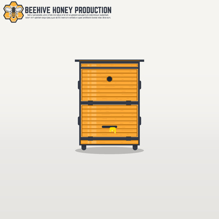 apiculture: Yellow wooden modern frame beehive with honey. Flat thick line and black outline flat style illustration. For honey production company.