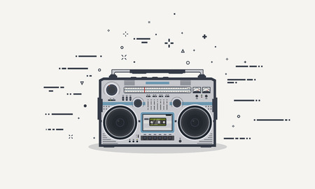 Retro boombox record player. Stereo redio 80s receiver. Old style audio beatbox with buttons and volume control. Flat style line illustration.