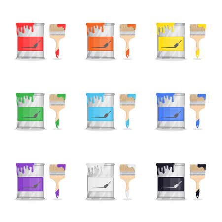 Set of paint buckets. Seven main colors drips on brushes and cans.
