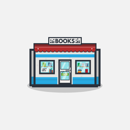 Online bookstore concept. Books selling concept. Flat line style illustration.