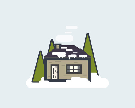Lonley cabin in the winter forest. Christmas home in the woods concept. Thin line flat style illustration.